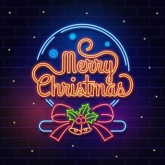 Feliz natal conceito com design de néon
