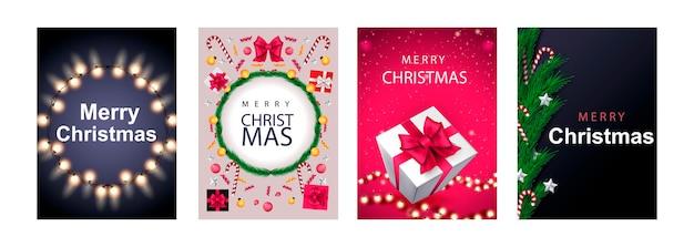Feliz natal conjunto de cartazes ou folhetos design de cartões com galho de árvore e bola de natal