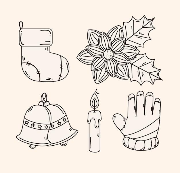 Feliz natal conjunto de ícones, design, temporada de inverno e decoração