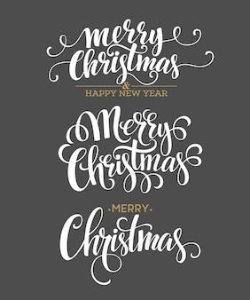 Feliz natal conjunto de letras, cartão de felicitações