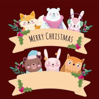 Feliz natal, cumprimentando animais fofos com ilustração de fita e bagas de azevinho