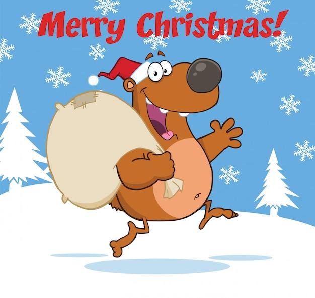 Feliz natal cumprimentando com urso de papai noel correndo com saco e acenando