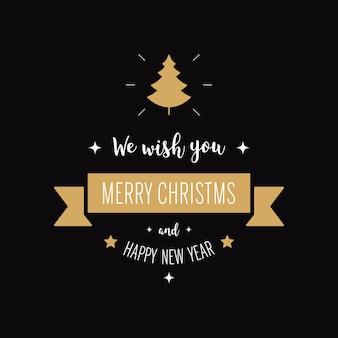 Feliz natal, cumprimentando o texto ornamentos fundo preto de árvore de ouro