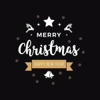 Feliz natal, cumprimentando o texto ornamentos ouro fundo preto