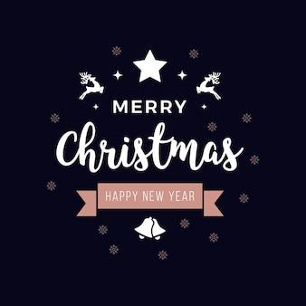 Feliz natal, cumprimentando o texto ornamentos rosegold fundo azul