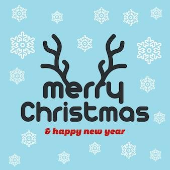 Feliz natal da rena cartão snwoflake plana