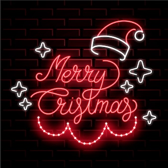 Feliz natal de néon com chapéu de papai noel