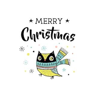 Feliz natal desenhado à mão bonito doodle, ilustração e cartões com a coruja. letras, tipografia