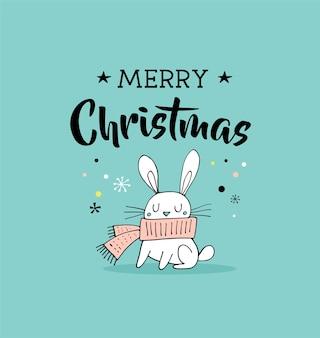 Feliz natal desenhado à mão bonito doodle, ilustração e cartões com o coelho. letras, tipografia