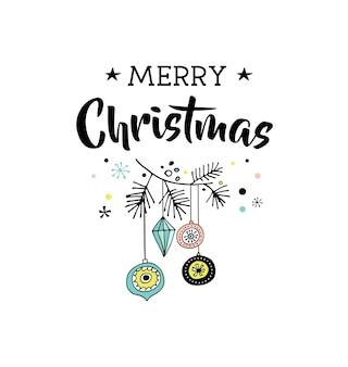 Feliz natal desenhado à mão bonito doodle, ilustração e cartões comemorativos com natal, árvore de natal. letras, tipografia