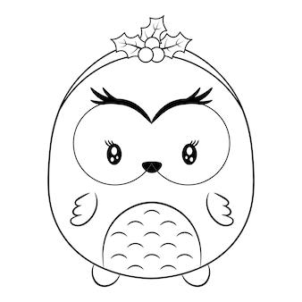 Feliz natal desenho animal fofo desenho para colorir com baga