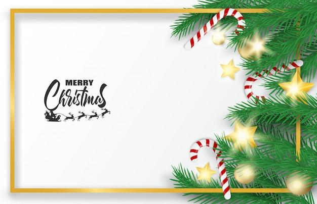 Feliz natal. design com árvore de natal, bolas, bastões de doces e estrelas de ouro brilhando li