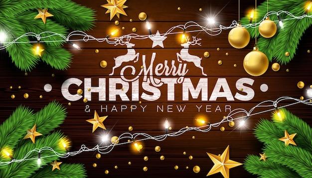 Feliz natal design com bola de vidro e ramo de pinheiro
