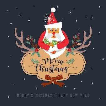 Feliz natal design de cartão de saudação. ilustração vetorial