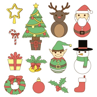 Feliz natal doodle coleção pastel