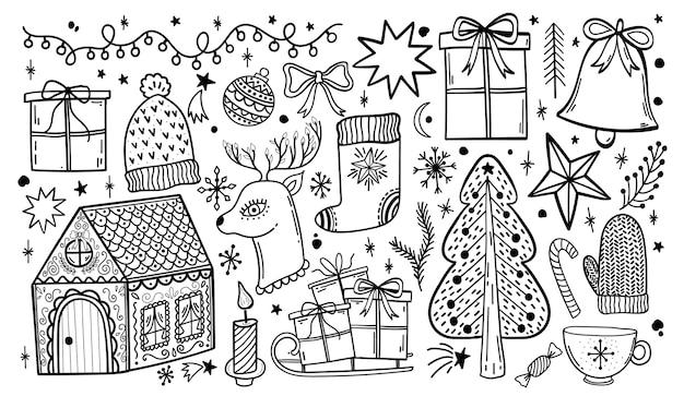 Feliz natal doodle conjunto desenhado de mão.