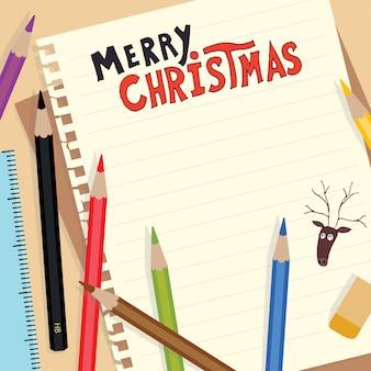 Feliz natal doodle inscrição no papel de nota