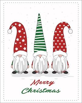 Feliz natal dos gnomos para o cartão ou cartão postal.