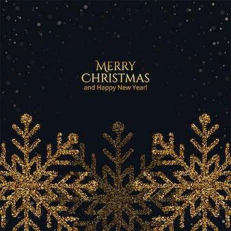 Feliz natal dourado floco de neve feito com glitter