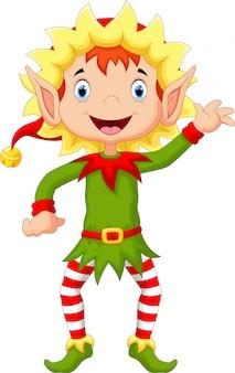 Feliz natal duende dos desenhos animados