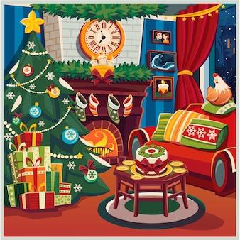 Feliz natal e ano novo. árvore de natal. interior. ilustração.