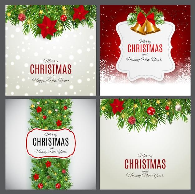 Feliz natal e ano novo banner conjunto