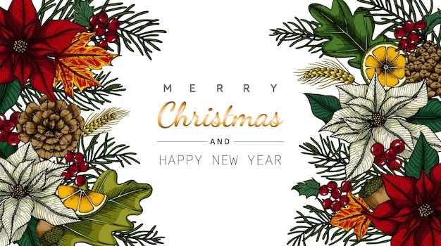 Feliz natal e ano novo cartão com flores e folhas