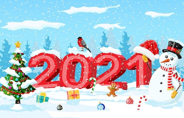 Feliz natal e ano novo cartão de saudação de natal