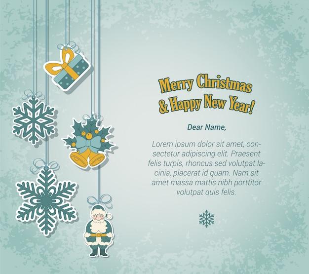 Feliz natal e ano novo cartão postal no estilo de etiqueta autocolante