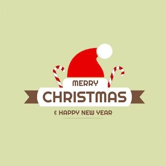 Feliz natal e ano novo chapéu de santa cartão feliz fundo liso