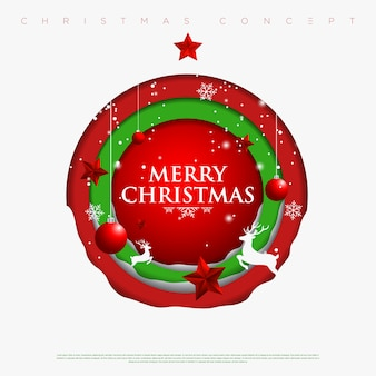 Feliz natal e ano novo círculos fundo com flocos de neve, estrelas, veados e árvore de natal feita de camadas de papel de recorte. .