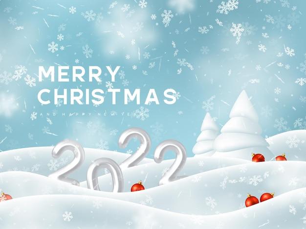 Feliz natal e ano novo com paisagem de neve e bolas vermelhas