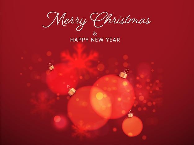 Feliz natal e ano novo conceito com enfeites, flocos de neve de efeito de desfoque no fundo vermelho bokeh.