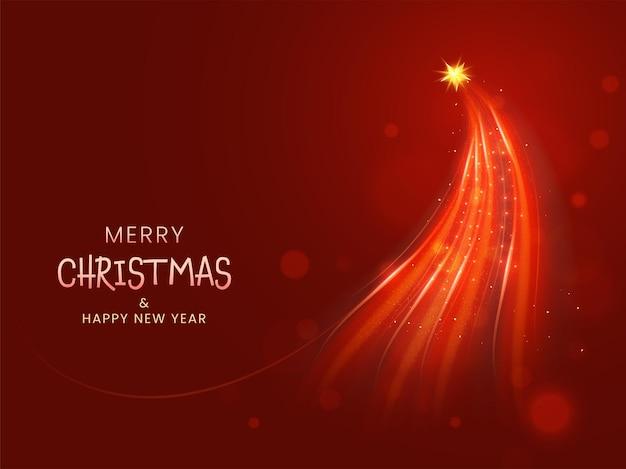 Feliz natal e ano novo conceito com luzes formando árvore de natal em fundo vermelho.
