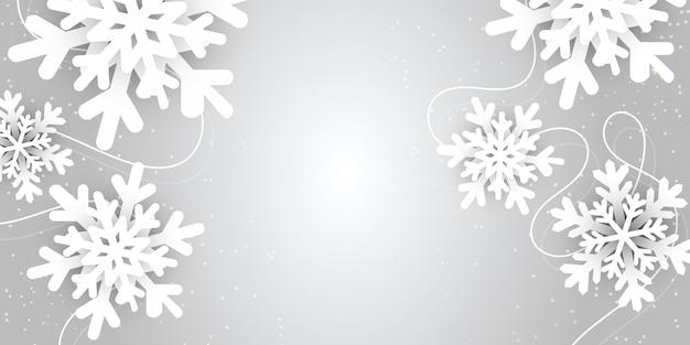 Feliz natal e ano novo ilustração vetorial abstrato com paisagem de floco de neve de inverno