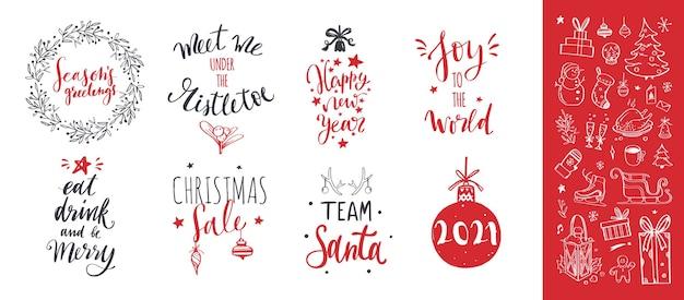 Feliz natal e ano novo palavras na decoração da árvore de natal. letras desenhadas à mão
