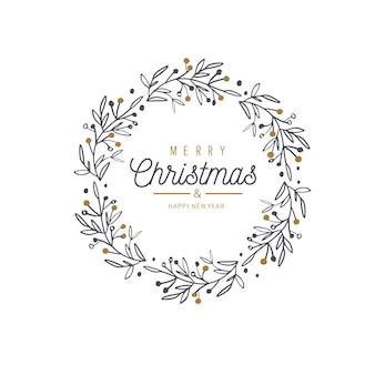 Feliz natal e ano novo palavras na decoração de moldura de árvore de natal.