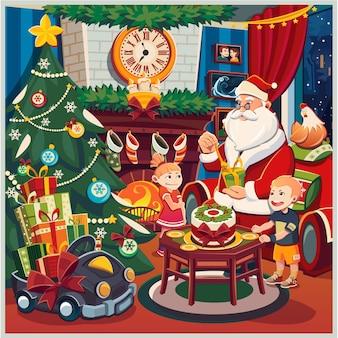 Feliz natal e ano novo. sala com lareira e arvore
