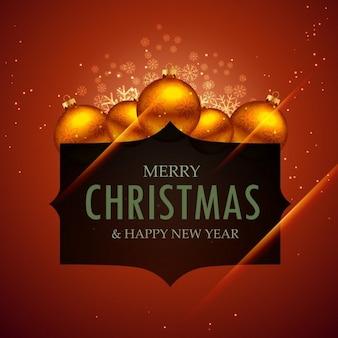 Feliz natal e ano novo saudação com bolas de decoração
