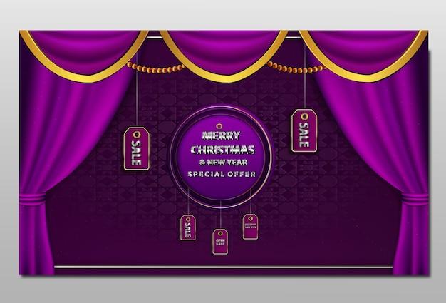 Feliz natal e banner de venda de ano novo
