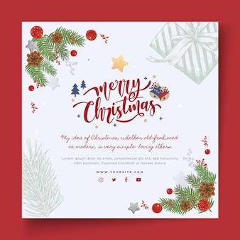 Feliz natal e boas festas panfleto quadrado