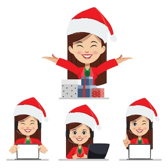 Feliz natal e call center mulher com conjunto de caixa de presente.