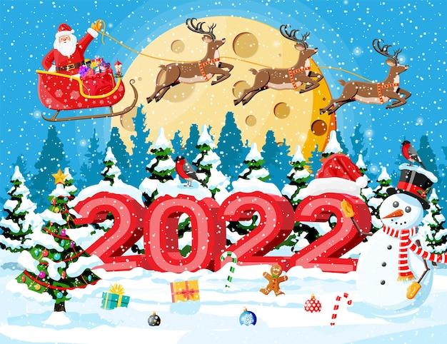 Feliz natal e cartão de felicitações de ano novo
