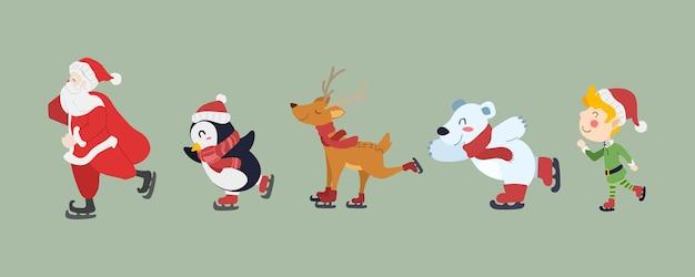 Feliz natal e cartão de feliz ano novo. desenho de personagens de desenhos animados bonitos de papai noel, pinguim, rena, urso polar e menino elfo patinando. ilustração vetorial.