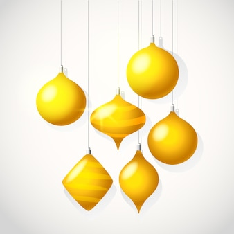 Feliz natal e cartão de feliz ano novo. ilustração vetorial com enfeites dourados