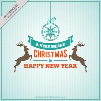 Feliz natal e do ano novo com a rena no design retro