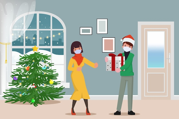 Feliz natal e entregador usando máscara facial entrega presentes