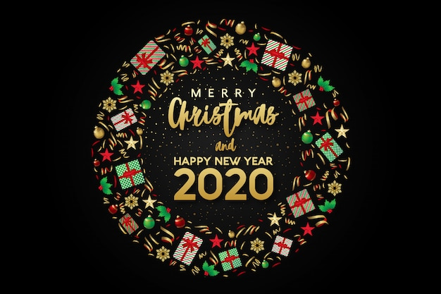 Feliz natal e feliz ano novo 2020 cartão com composição de círculo arredondado