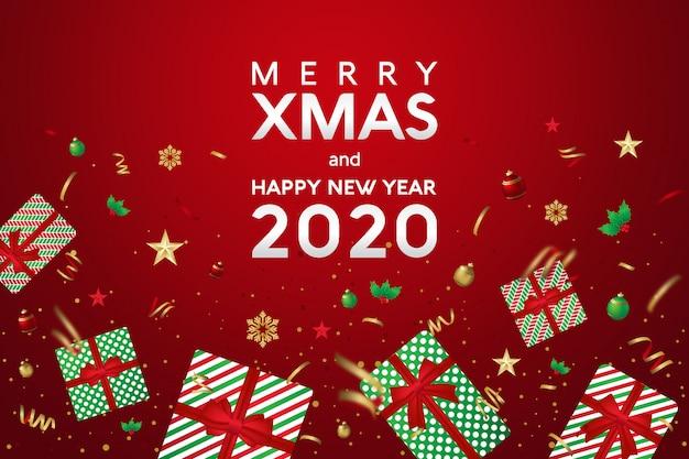 Feliz natal e feliz ano novo 2020 cartão com presentes