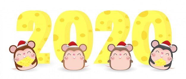 Feliz natal e feliz ano novo 2020 cartão com queijo e rato bonitinho